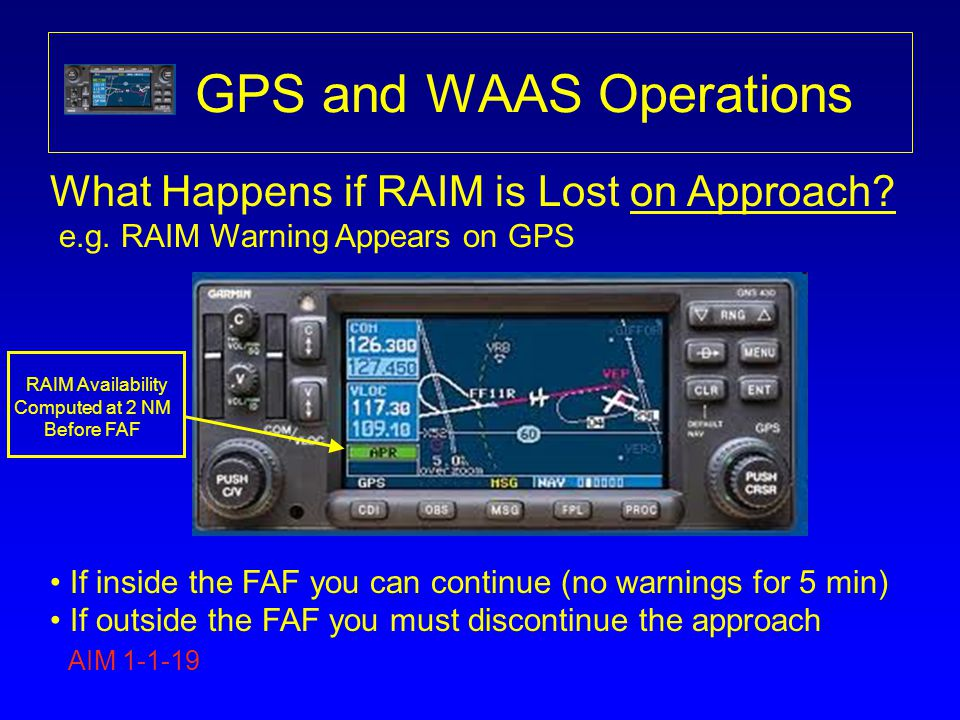 GPS and WAAS Operations What Happens if RAIM is Lost on Approach? e.g. RAIM Warning Appears on GPS If inside the FAF you can continue (no warnings for