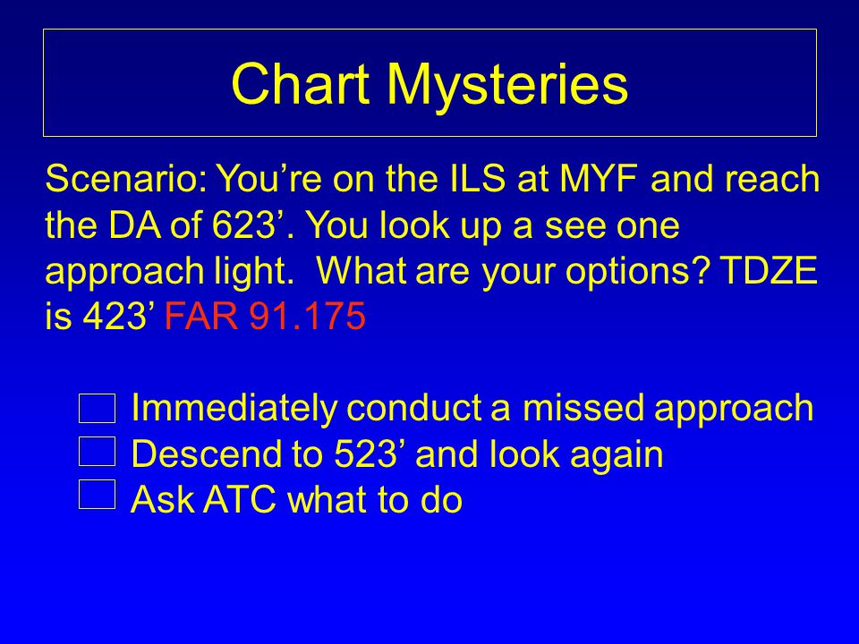 Chart Mysteries Scenario: Youre on the ILS at MYF and reach the DA of 623.