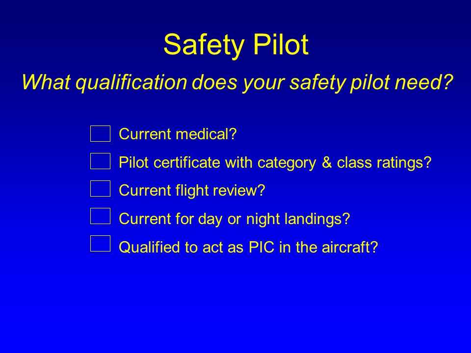 Safety Pilot What qualification does your safety pilot need.