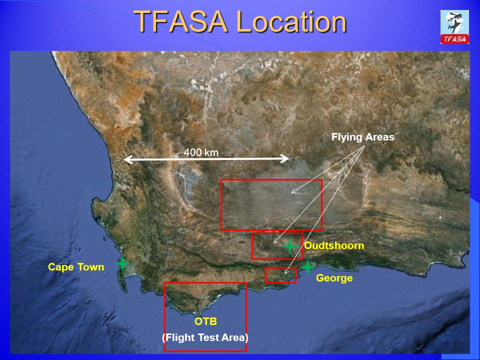 TFASA Location Cape Town George Oudtshoorn 400 km OTB Flying Areas (Flight Test Area)