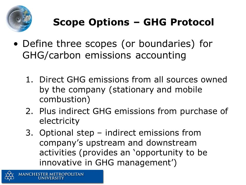 Scope Options – GHG Protocol Define three scopes (or boundaries) for GHG/carbon emissions accounting 1.Direct GHG emissions from all sources owned by