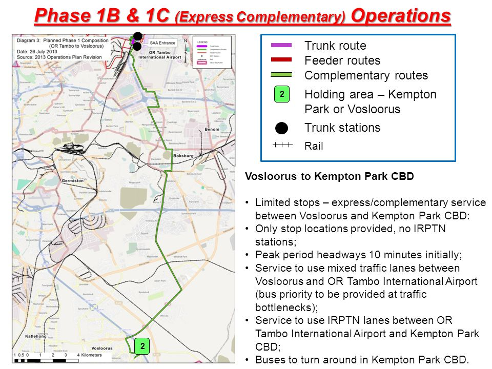 Vosloorus to Kempton Park CBD Limited stops – express/complementary service between Vosloorus and Kempton Park CBD: Only stop locations provided, no I