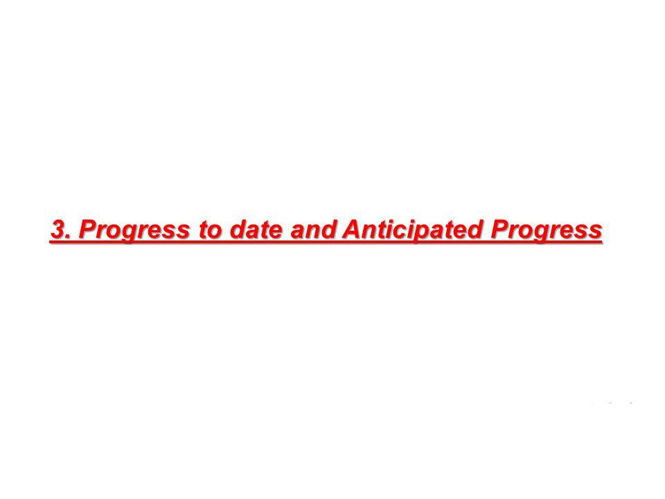 3. Progress to date and Anticipated Progress