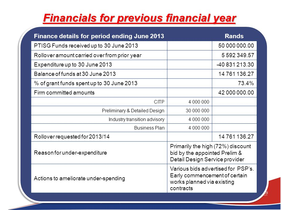 Financials for previous financial year Finance details for period ending June 2013Rands PTISG Funds received up to 30 June 201350 000 000.00 Rollover