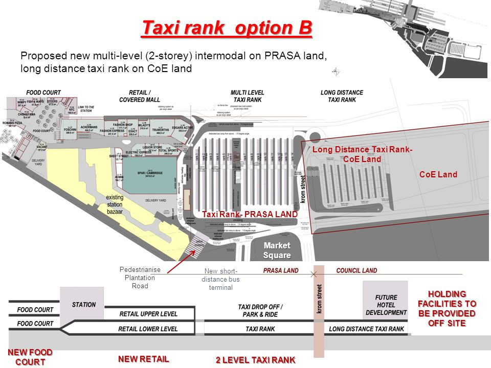 SITE BOUNDARY LINE NEW FOOD COURT NEW RETAIL 2 LEVEL TAXI RANK HOLDING FACILITIES TO BE PROVIDED OFF SITE Taxi rank option B Proposed new multi-level