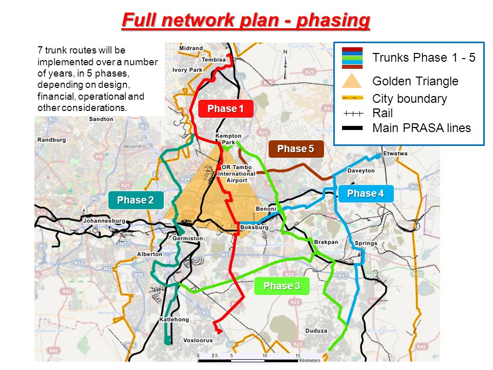 Full network plan - phasing Phase 1 Phase 2 Phase 3 Phase 4 Phase 5 7 trunk routes will be implemented over a number of years, in 5 phases, depending