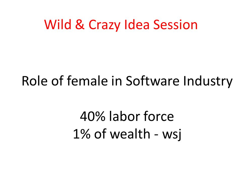 Wild & Crazy Idea Session Role of female in Software Industry 40% labor force 1% of wealth - wsj