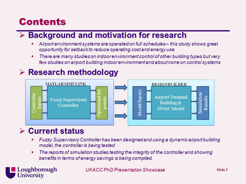 Univ logo UKACC PhD Presentation Showcase Slide 3 Contents Background and motivation for research Background and motivation for research Airport environment systems are operated on full schedules – this study shows great opportunity for setback to reduce operating cost and energy use Airport environment systems are operated on full schedules – this study shows great opportunity for setback to reduce operating cost and energy use There are many studies on indoor environment control of other building types but very few studies on airport building indoor environment and about none on control systems There are many studies on indoor environment control of other building types but very few studies on airport building indoor environment and about none on control systems Research methodology Research methodology Current status Current status Fuzzy Supervisory Controller has been designed and using a dynamic airport building model, the controller is being tested Fuzzy Supervisory Controller has been designed and using a dynamic airport building model, the controller is being tested The reports of simulation studies testing the integrity of the controller and showing benefits in terms of energy savings is being compiled.