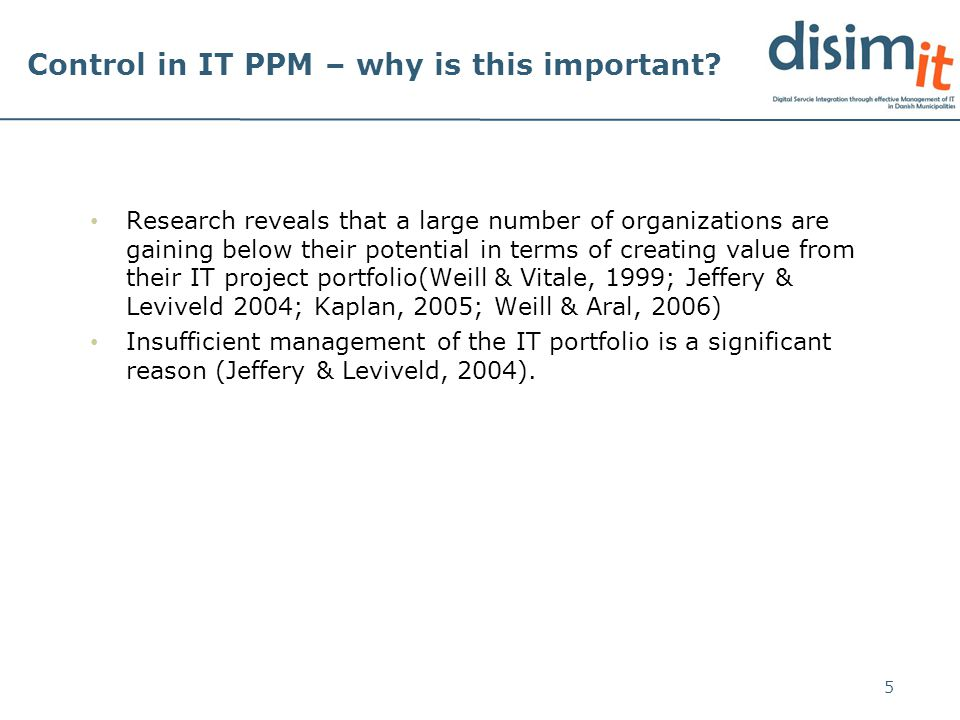 Control in IT PPM – why is this important.