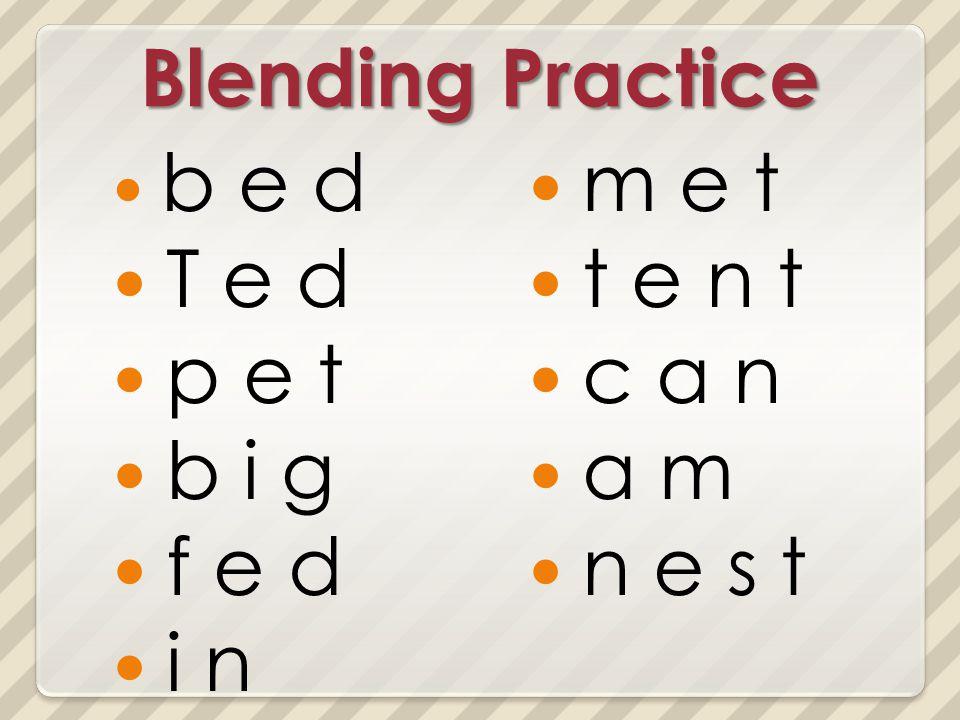 Blending Practice b e d T e d p e t b i g f e d i n m e t t e n t c a n a m n e s t