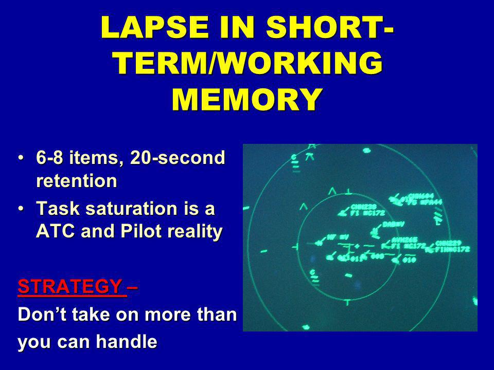 6-8 items, 20-second retention6-8 items, 20-second retention Task saturation is a ATC and Pilot realityTask saturation is a ATC and Pilot reality STRA