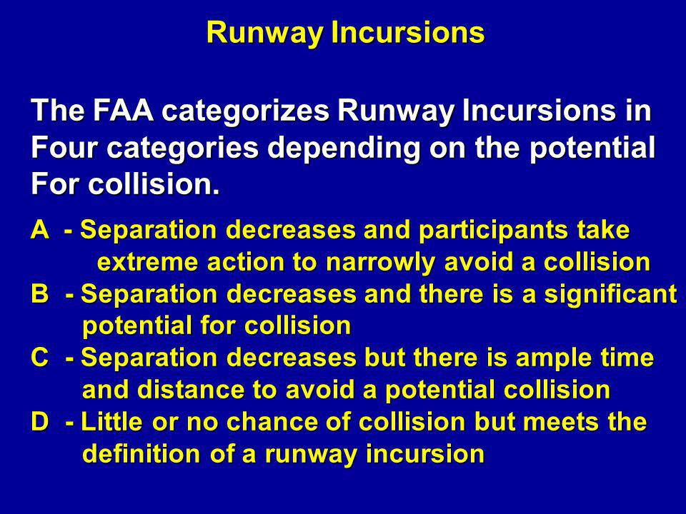 Severity Categories A B C D Animated Illustration 9 Little or no risk of collision Ample time and distance to avoid collision Significant potential for collision Barely avoid collision Above scenarios are all classified as runway incursions, but with different severity codes.