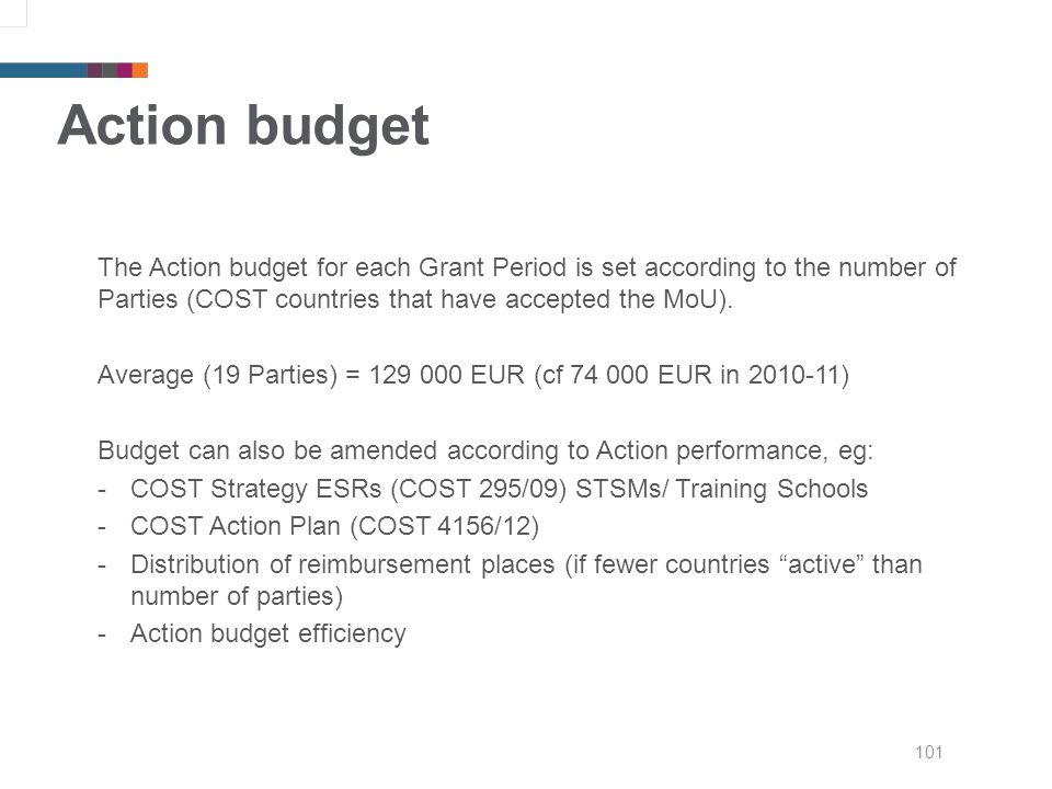101 Action budget The Action budget for each Grant Period is set according to the number of Parties (COST countries that have accepted the MoU).