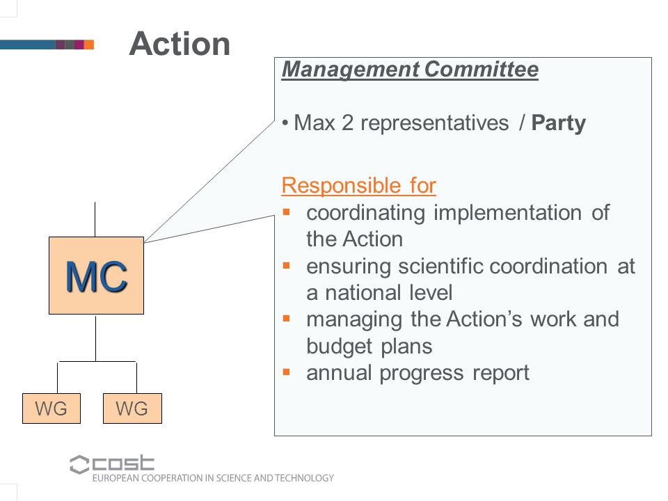 Action WG MC Management Committee Max 2 representatives / Party Responsible for coordinating implementation of the Action ensuring scientific coordination at a national level managing the Actions work and budget plans annual progress report