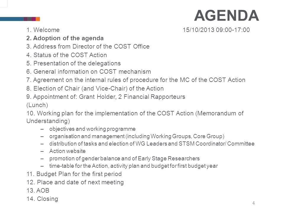 4 AGENDA 1. Welcome15/10/2013 09:00-17:00 2. Adoption of the agenda 3.
