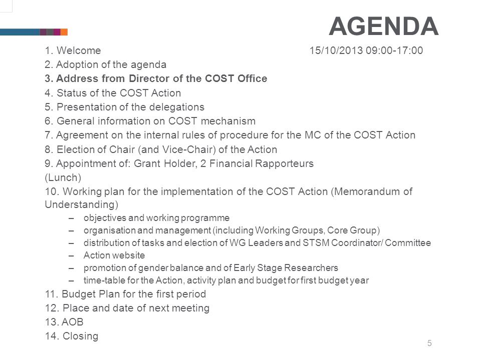 5 AGENDA 1. Welcome15/10/2013 09:00-17:00 2. Adoption of the agenda 3.