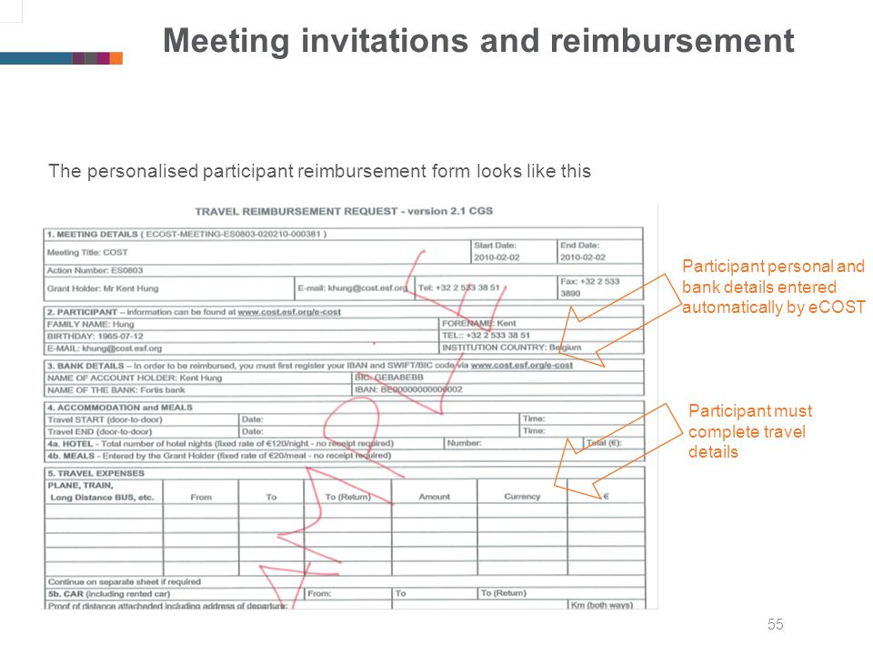 55 Meeting invitations and reimbursement The personalised participant reimbursement form looks like this Participant personal and bank details entered automatically by eCOST Participant must complete travel details