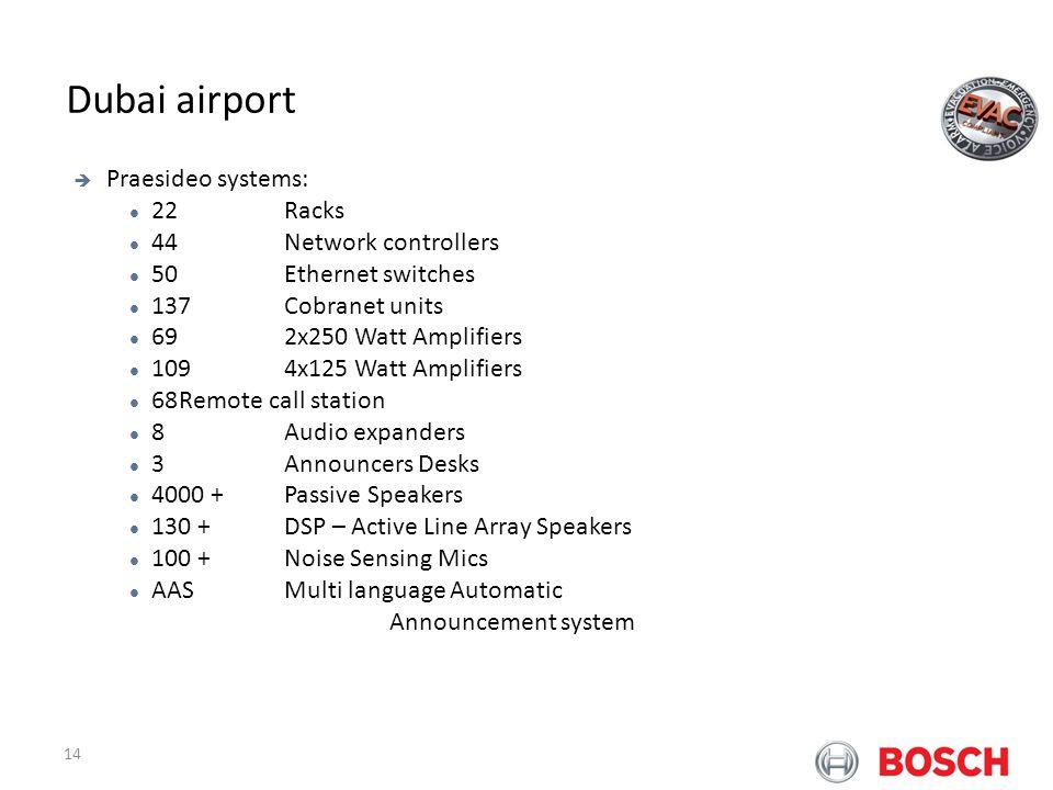 14 Bosch Praesideo at Airports Dubai airport Praesideo systems: 22 Racks 44 Network controllers 50 Ethernet switches 137 Cobranet units 69 2x250 Watt