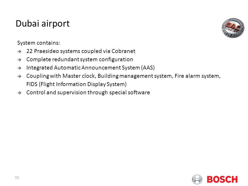 15 Bosch Praesideo at Airports Dubai airport System contains: 22 Praesideo systems coupled via Cobranet Complete redundant system configuration Integr