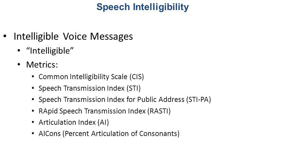 Speech Transmission Index & Common Intelligibility Scale Commonly used metrics 0.50 STI = 0.70 CIS Speech Intelligibility Example: STI