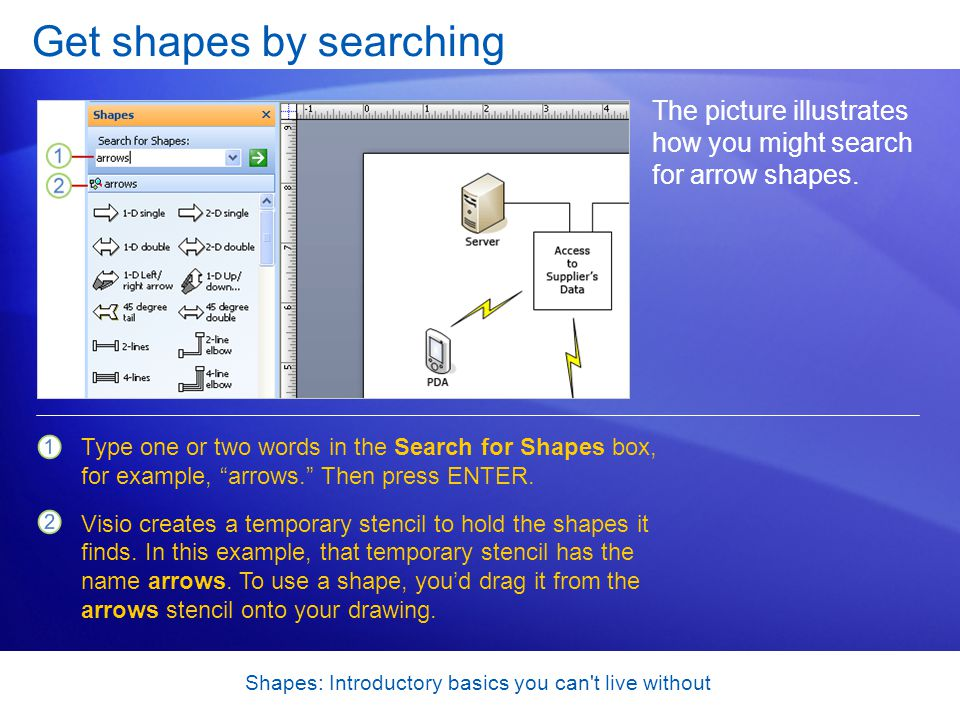 Shapes: Introductory basics you can t live without Get shapes by searching The picture illustrates how you might search for arrow shapes.