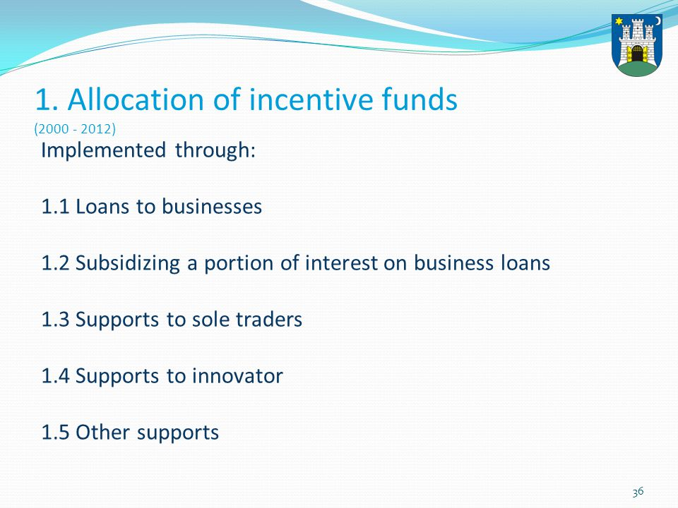 36 1. Allocation of incentive funds (2000 - 2012) Implemented through: 1.1 Loans to businesses 1.2 Subsidizing a portion of interest on business loans