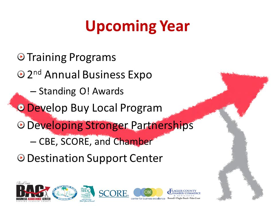 Upcoming Year Training Programs 2 nd Annual Business Expo – Standing O.