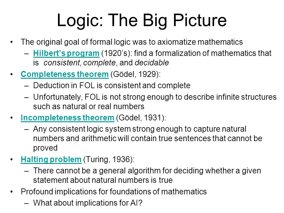 Logic: The Big Picture The original goal of formal logic was to axiomatize mathematics –Hilberts program (1920s): find a formalization of mathematics that is consistent, complete, and decidableHilberts program Completeness theorem (Gödel, 1929):Completeness theorem –Deduction in FOL is consistent and complete –Unfortunately, FOL is not strong enough to describe infinite structures such as natural or real numbers Incompleteness theorem (Gödel, 1931):Incompleteness theorem –Any consistent logic system strong enough to capture natural numbers and arithmetic will contain true sentences that cannot be proved Halting problem (Turing, 1936):Halting problem –There cannot be a general algorithm for deciding whether a given statement about natural numbers is true Profound implications for foundations of mathematics –What about implications for AI