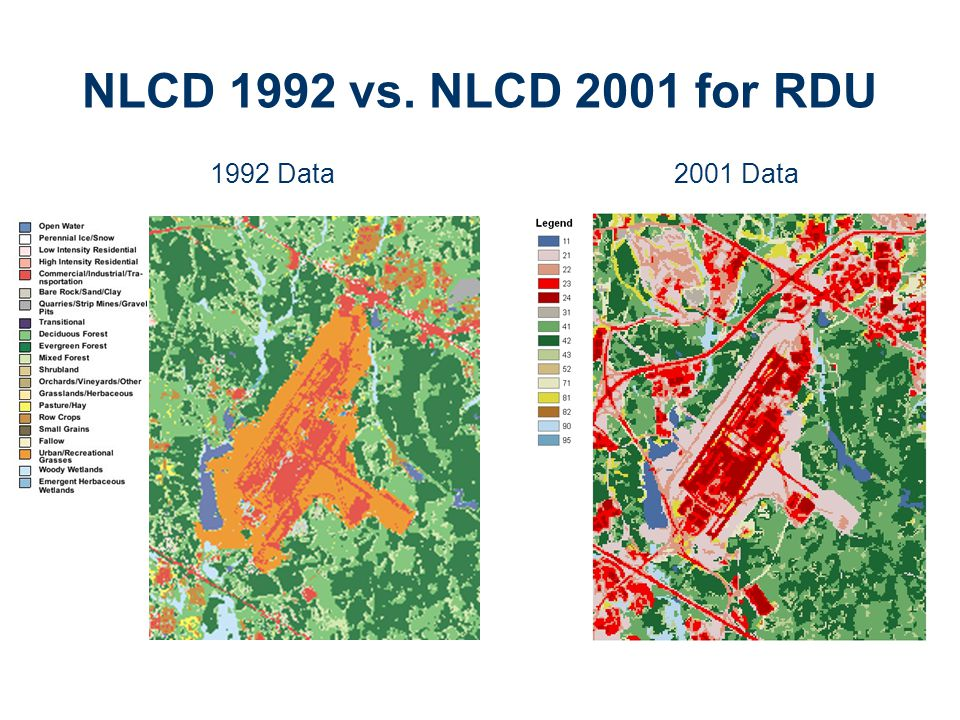 NLCD 1992 vs. NLCD 2001 for RDU 1992 Data2001 Data