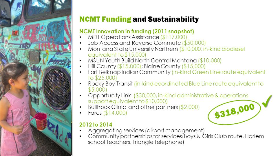 NCMT Innovation in funding (2011 snapshot) MDT Operations Assistance ($117,000) Job Access and Reverse Commute ($50,000) Montana State University Northern ($10,000, in-kind biodiesel equivalent to $15,000) MSUN Youth Build North Central Montana ($10,000) Hill County ($15,000); Blaine County ($15,000) Fort Belknap Indian Community (in-kind Green Line route equivalent to $25,000) Rocky Boy Transit (in-kind coordinated Blue Line route equivalent to $5,000) Opportunity Link ($30,000, in-kind administrative & operations support equivalent to $10,000) Bullhook Clinic and other partners ($2,000) Fares ($14,000) 2012 to 2014 Aggregating services (airport management) Community partnerships for services(Boys & Girls Club route, Harlem school teachers, Triangle Telephone) $318,000 NCMT Funding and Sustainability