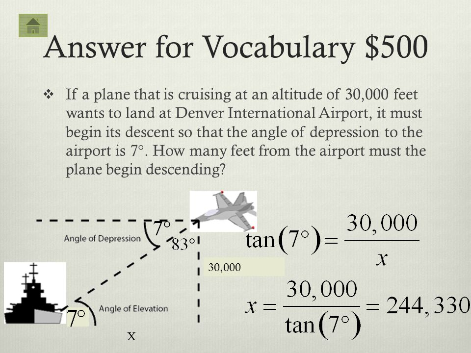 Answer for Vocabulary $500 If a plane that is cruising at an altitude of 30,000 feet wants to land at Denver International Airport, it must begin its