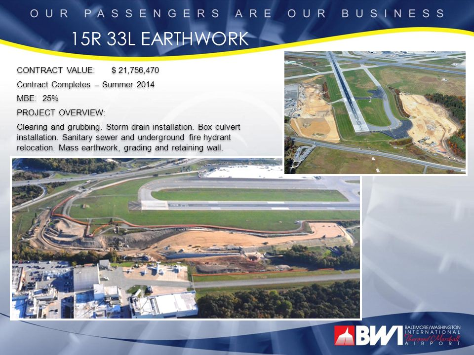 RUNWAY 15R DEICING CONTRACT VALUE: $ 14,168,409 Contract Completes – November 2013 MBE: 30% PROJECT OVERVIEW: Removal of existing pavement.