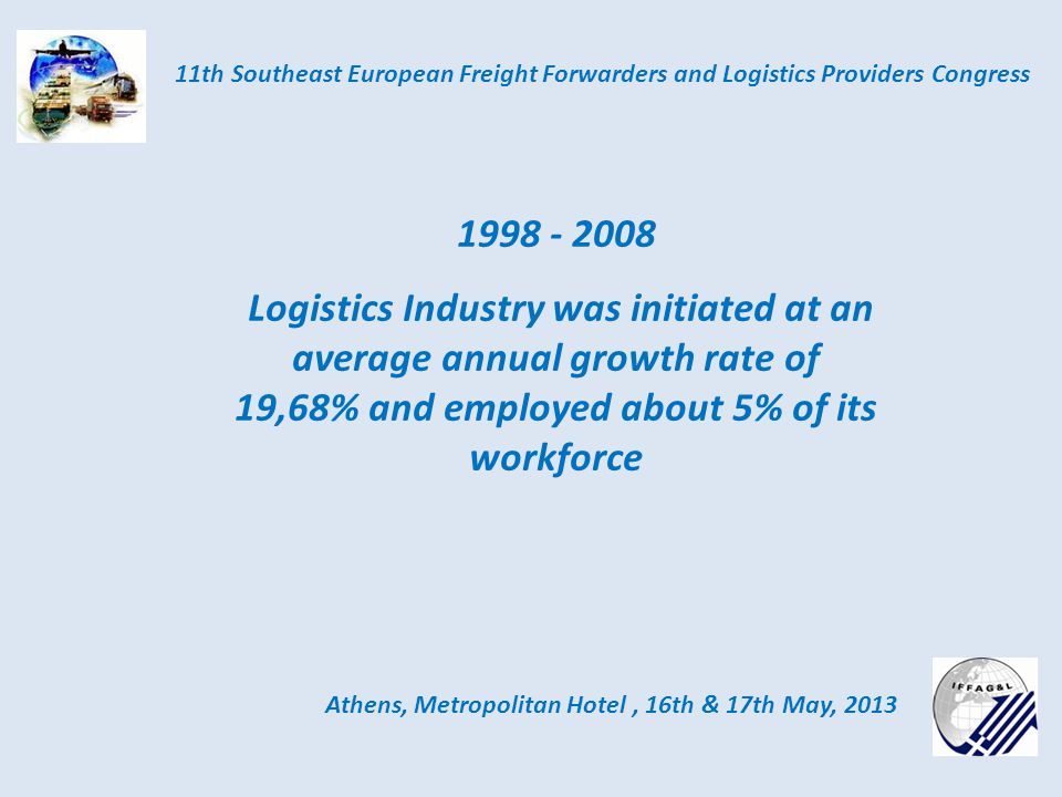 Athens, Metropolitan Hotel, 16th & 17th May, 2013 11th Southeast European Freight Forwarders and Logistics Providers Congress 1998 - 2008 Logistics Industry was initiated at an average annual growth rate of 19,68% and employed about 5% of its workforce