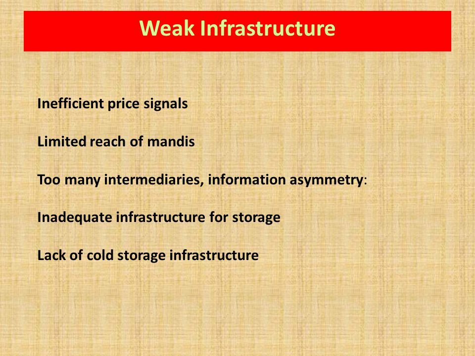 Inefficient price signals Limited reach of mandis Too many intermediaries, information asymmetry: Inadequate infrastructure for storage Lack of cold s