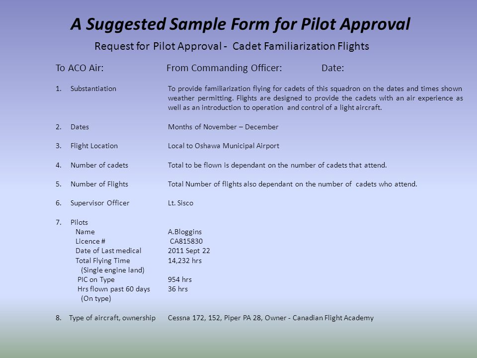 A Suggested Sample Form for Pilot Approval 1. Substantiation 2.