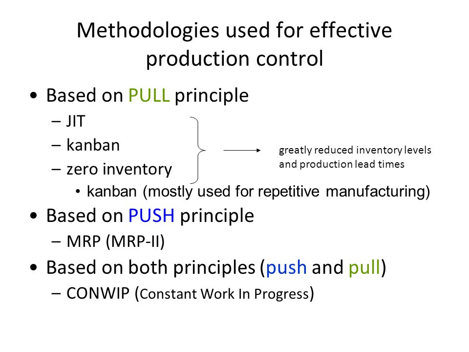 Methodologies used for effective production control Based on PULL principle –JIT –kanban –zero inventory kanban (mostly used for repetitive manufacturing) Based on PUSH principle –MRP (MRP-II) Based on both principles (push and pull) –CONWIP ( Constant Work In Progress ) greatly reduced inventory levels and production lead times