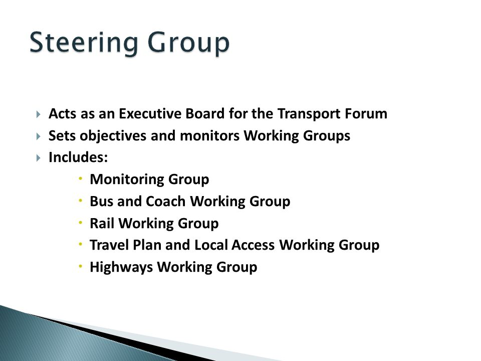 Acts as an Executive Board for the Transport Forum Sets objectives and monitors Working Groups Includes: Monitoring Group Bus and Coach Working Group Rail Working Group Travel Plan and Local Access Working Group Highways Working Group