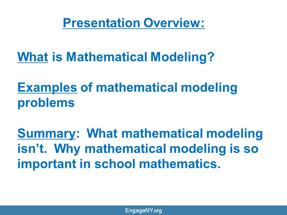 Why mathematical modeling is important.(a) Modeling serves many everyday situations.