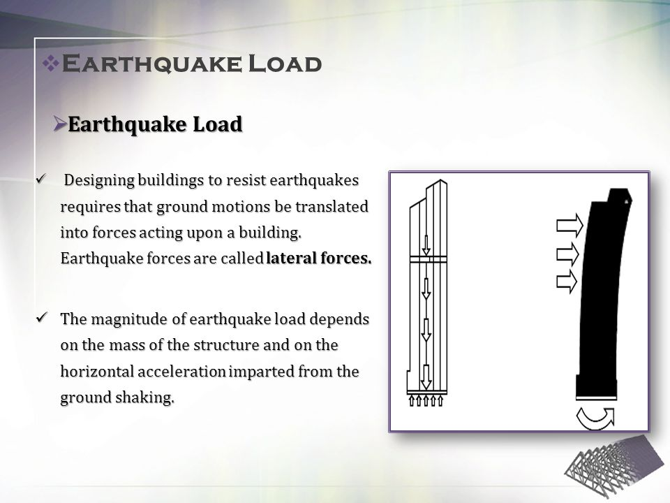 Designing buildings to resist earthquakes requires that ground motions be translated into forces acting upon a building.