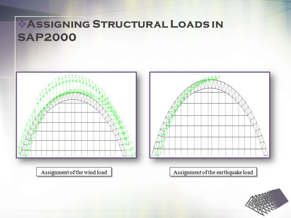 Assignment of the wind load Assignment of the earthquake load Assigning Structural Loads in SAP2000