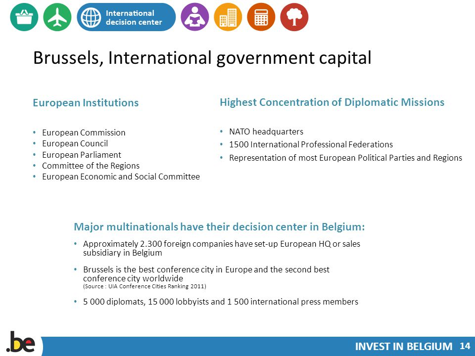INVEST IN BELGIUM Brussels, International government capital European Institutions European Commission European Council European Parliament Committee of the Regions European Economic and Social Committee Highest Concentration of Diplomatic Missions NATO headquarters 1500 International Professional Federations Representation of most European Political Parties and Regions 14 Major multinationals have their decision center in Belgium: Approximately 2.300 foreign companies have set-up European HQ or sales subsidiary in Belgium Brussels is the best conference city in Europe and the second best conference city worldwide (Source : UIA Conference Cities Ranking 2011) 5 000 diplomats, 15 000 lobbyists and 1 500 international press members