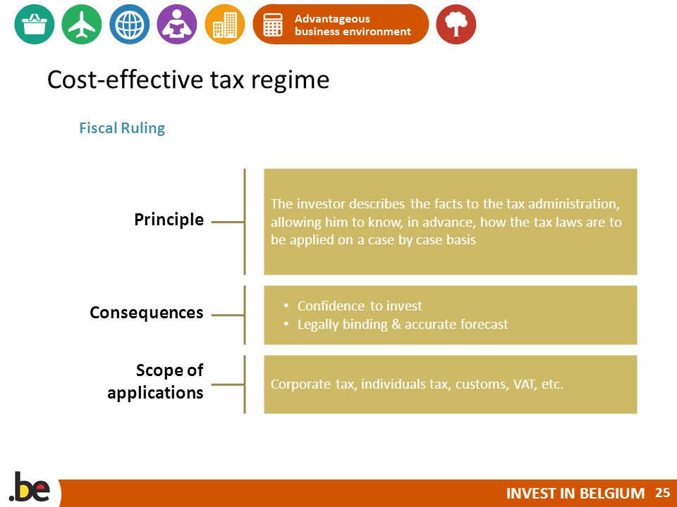 INVEST IN BELGIUM Cost-effective tax regime Fiscal Ruling Principle The investor describes the facts to the tax administration, allowing him to know, in advance, how the tax laws are to be applied on a case by case basis Consequences Confidence to invest Legally binding & accurate forecast Scope of applications Corporate tax, individuals tax, customs, VAT, etc.