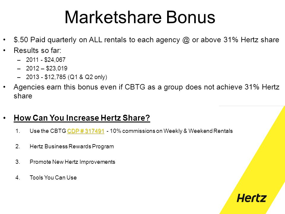 Marketshare Bonus $.50 Paid quarterly on ALL rentals to each agency @ or above 31% Hertz share Results so far: –2011 - $24,067 –2012 – $23,019 –2013 -