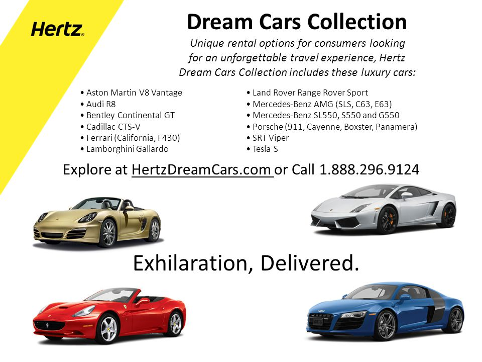 Dream Cars Collection Unique rental options for consumers looking for an unforgettable travel experience, Hertz Dream Cars Collection includes these l
