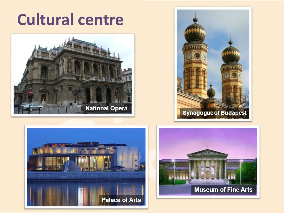 Cultural centre National Opera Palace of Arts Synagogue of Budapest Museum of Fine Arts
