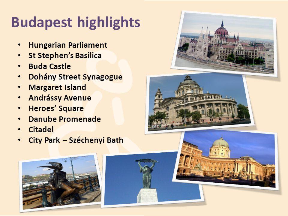 Hungarian Parliament St Stephens Basilica Buda Castle Dohány Street Synagogue Margaret Island Andrássy Avenue Heroes Square Danube Promenade Citadel C