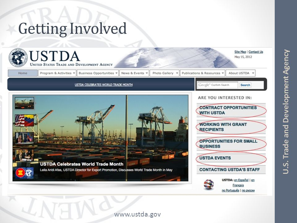 www.ustda.gov U.S. Trade and Development Agency Getting Involved