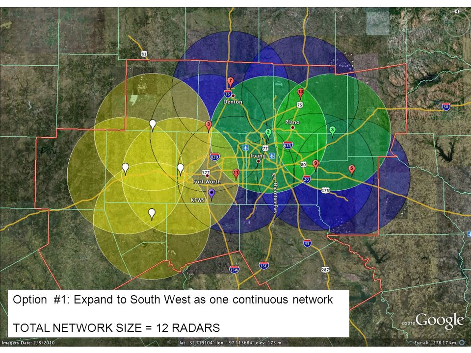 Option #1: Expand to South West as one continuous network TOTAL NETWORK SIZE = 12 RADARS