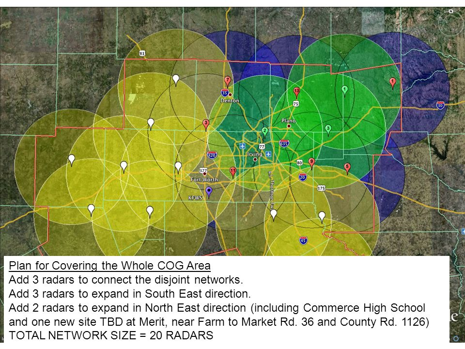 Plan for Covering the Whole COG Area Add 3 radars to connect the disjoint networks. Add 3 radars to expand in South East direction. Add 2 radars to ex