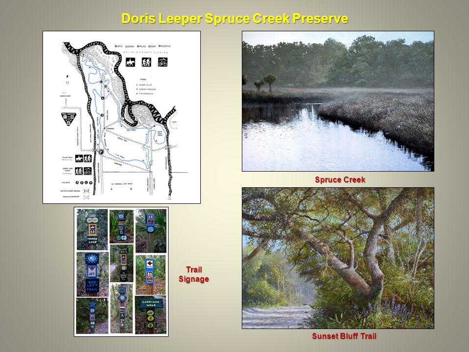 Doris Leeper Spruce Creek Preserve Sunset Bluff Trail Spruce Creek Trail Signage